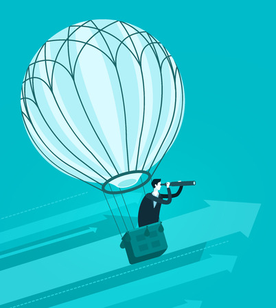 Businessman flying in air balloon. business concept. vector illustration