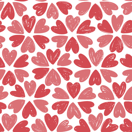 Hearts, seamless background. Love concept. Hand drawn vector illustration