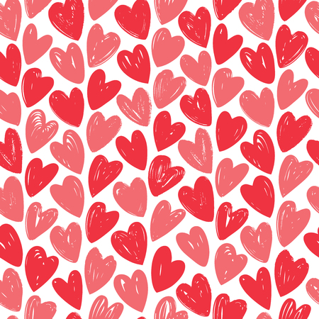 Hearts, love seamless background. Hand drawn vector illustration