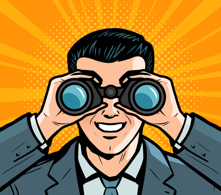 Businessman looking through binoculars. Pop art retro comic style. Cartoon vector
