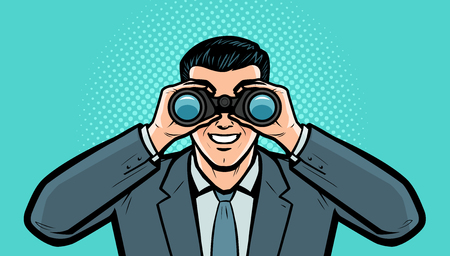 Businessman looks at the target through binoculars. 写真素材 - 121820861