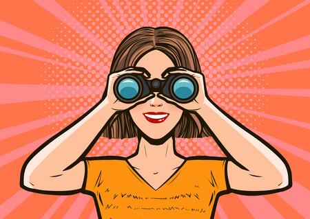 Girl looking through binoculars. Pop art retro comic style. Cartoon vector