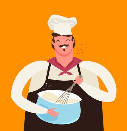 baker whips dough in kitchen. cooking vector illustration