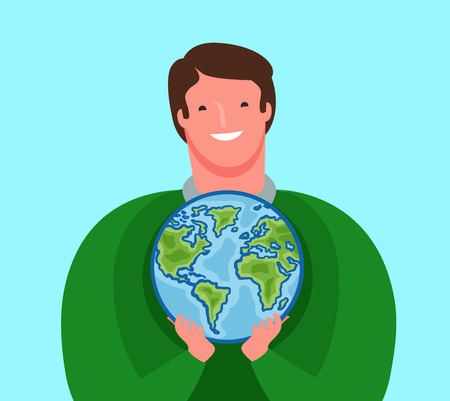 Man carefully holds planet Earth. Ecology, environment, travel concept.