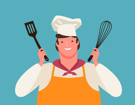 happy chef with kitchen tools in his hands. cooking, vector