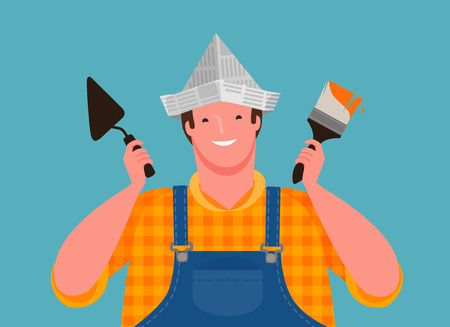 happy worker holding building tools. Finishing work, cartoon vector Ilustrace