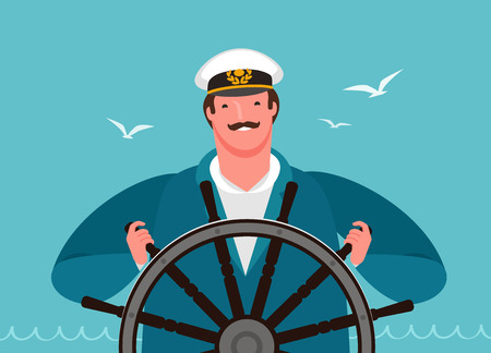 sailor at the helm of the ship. sailing, cruise vector Ilustrace