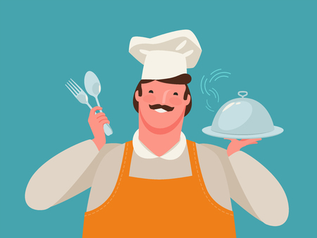 Happy chef holding a tray of food. Restaurant, cartoon vector