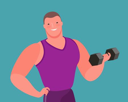 Culturista musculoso levanta pesas pesadas. Gimnasio, vector de dibujos animados