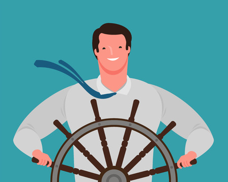smiling businessman at the helm of the ship. business success, cartoon vector