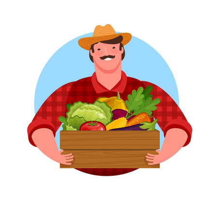 Happy farmer holding wooden box full of fresh vegetables. Banque d'images - 122842720
