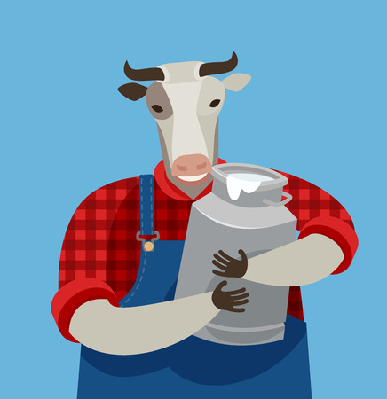 funny cow holding a can of fresh milk. dairy farm, vector illustration