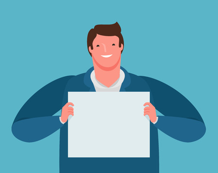 happy businessman holding a paper sheet in his hands. business presentation, cartoon vector
