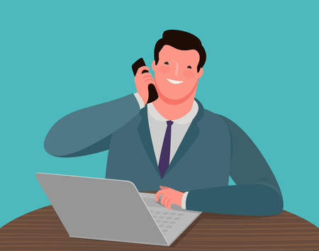 Businessman talking on the phone while sitting at the desk in front of a laptop. Ilustrace
