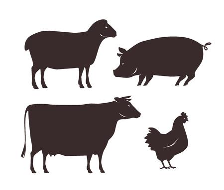 Zestaw zwierząt gospodarskich. Ilustracje wektorowe