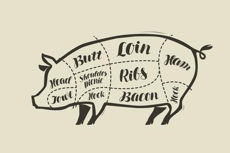 Pig meat cutting. Menu for restaurant or butcher shop. Stock Illustratie