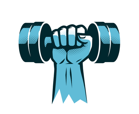 Raised arm with dumbbell. Illustration