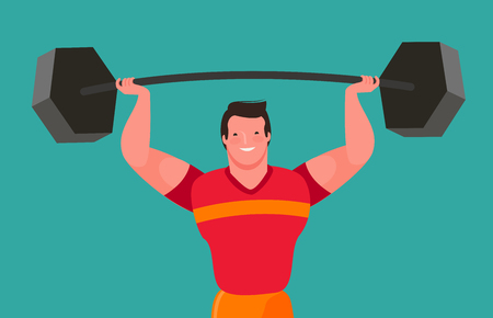 Funny bodybuilder raises heavy barbell. Gym vector Ilustrace