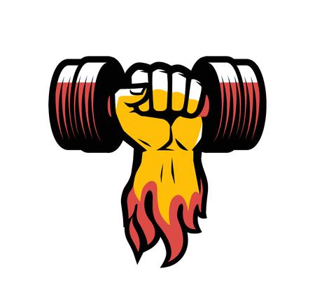 Bras avec haltère. Logo ou étiquette du club de gym Logo