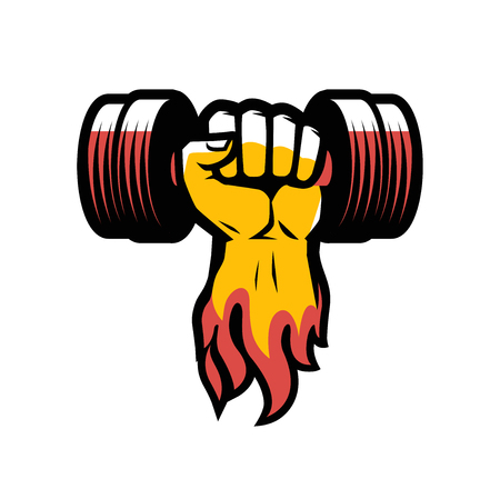 Arm with dumbbell. Gym club logo or label Illustration