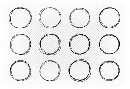 Hand drawn circle, set of elements.