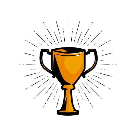 Gold cup winner, achievement award. Vector illustration