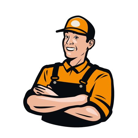 Worker or serviceman in overalls. Illustration