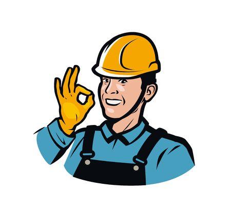 Bouwer of arbeider in bouwhelm.