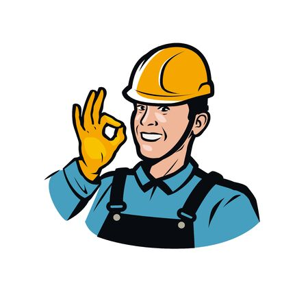 Builder or worker in construction helmet.