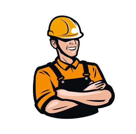 Builder or worker in construction helmet. Repair, fix, industry logo. Stock Illustratie