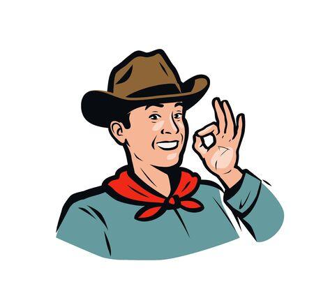 Retrato de un vaquero americano feliz. Ilustración de vector