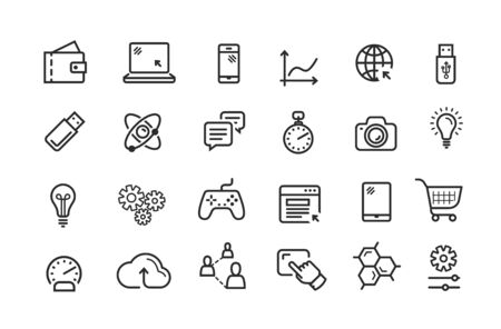 Line icon set. Collection vector black outline logo for mobile apps web or site design Logo