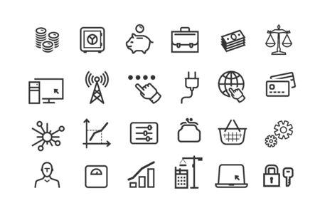Line icons set. Collection vector black outline logo for mobile apps web or site design Stock Illustratie