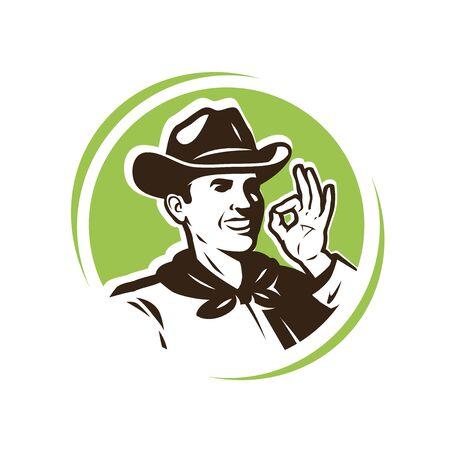 Granjero del sombrero. Granja, logotipo o emblema agrícola.