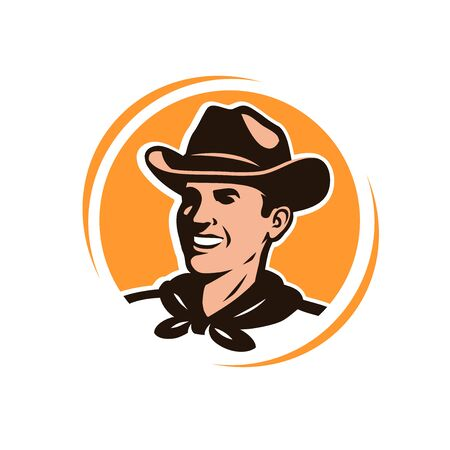 American cowboy in a hat. Logo or emblem Imagens - 129091652