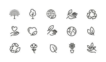 Ecology, environment line icons set. C
