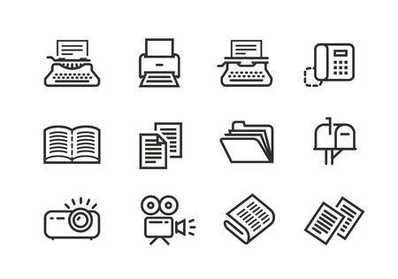 Business line icons set. Stock Illustratie