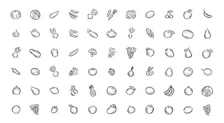 Fruits and vegetables icons set.
