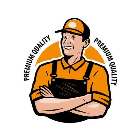 Trabajador en ropa de trabajo. Ilustración de vector