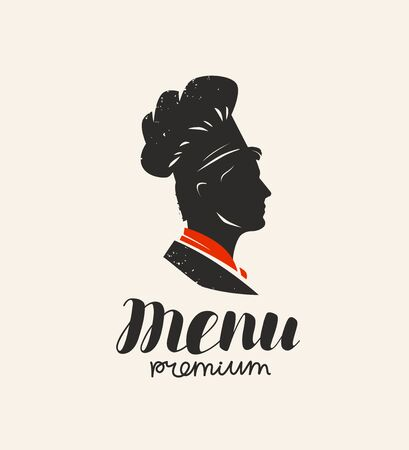 Logo menu, restaurant. Chef in hat.