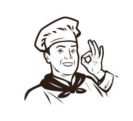 Chef logo. Cook in hat sketch. Ilustrace