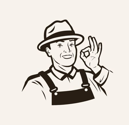 Portrait of a cheerful farmer in a hat.  イラスト・ベクター素材