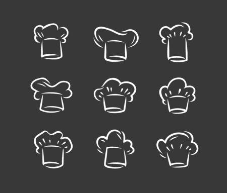 Cook hat logo. Menu, restaurant icon set.