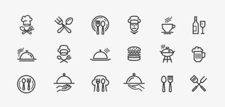 Colección vector logo de contorno negro para aplicaciones móviles diseño web o sitio