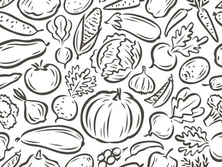 Vegetables seamless background. Healthy food concept. Vector