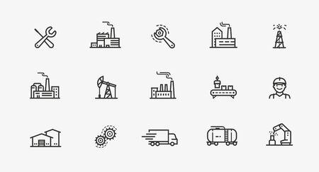 Industrie-Icon-Set. Fabrik, Herstellungssymbol. Vektorgrafik