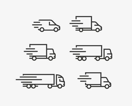 Conjunto de iconos de camión. Carga, símbolo de entrega.