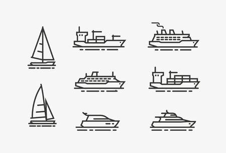 Ship icon set. Shipping, cruise symbol. Illustration