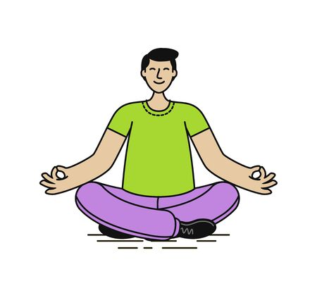 Relaxed man sitting in lotus position. Illustration