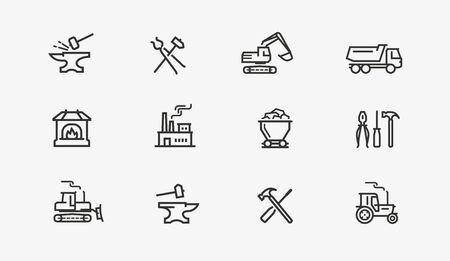 Industry icon set. Factory, manufacture, construction symbol. Иллюстрация